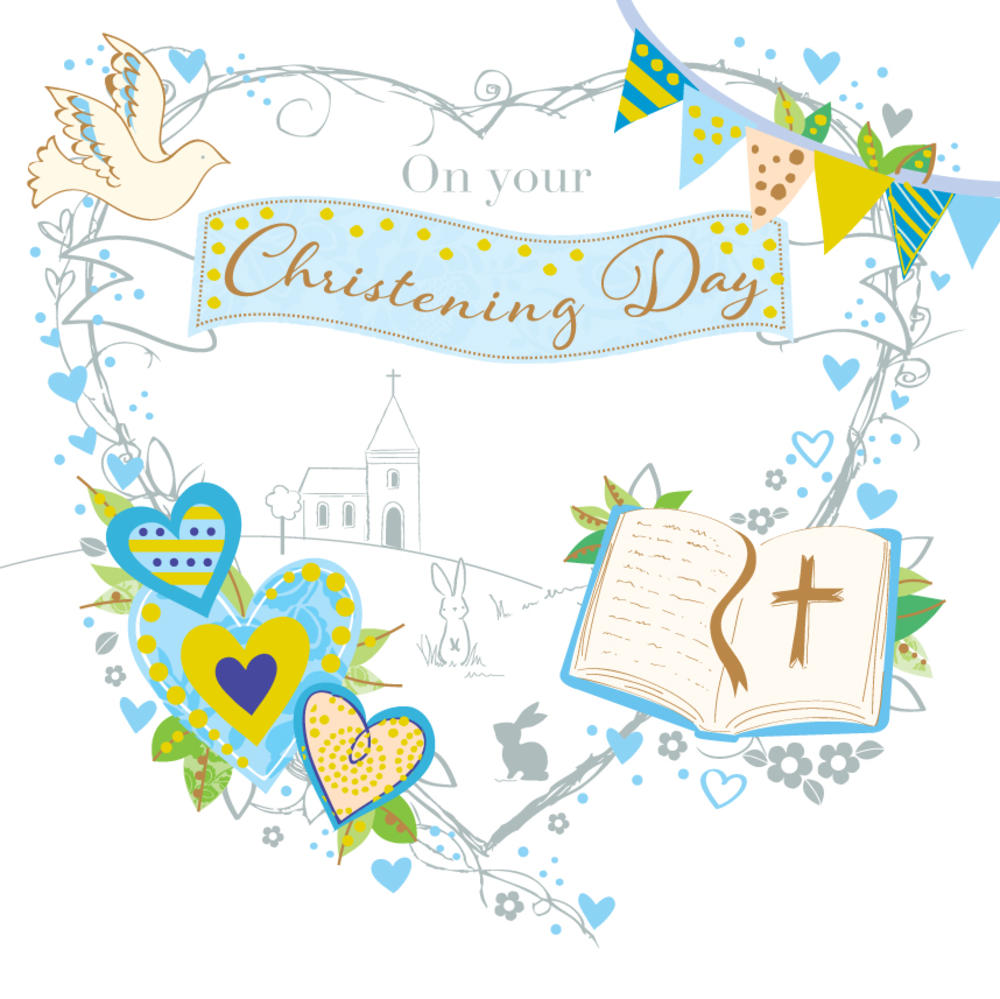 Blue On Your Christening Day Greeting Card