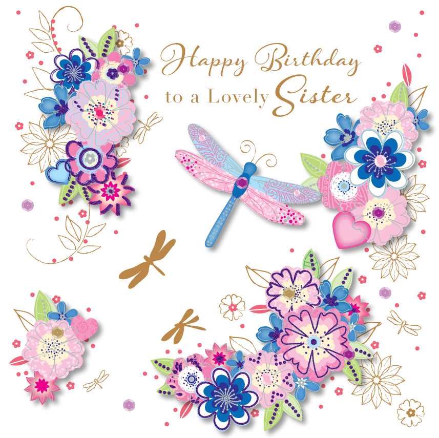 Lovely Sister Happy Birthday Greeting Card
