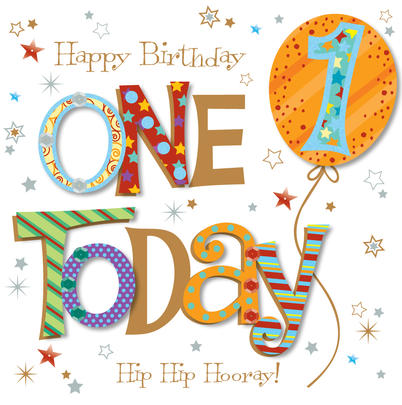 One Today 1st Birthday Greeting Card