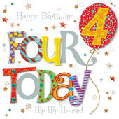 Four Today 4th Birthday Greeting Card