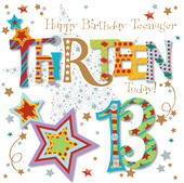 Thirteen Today 13th Birthday Greeting Card