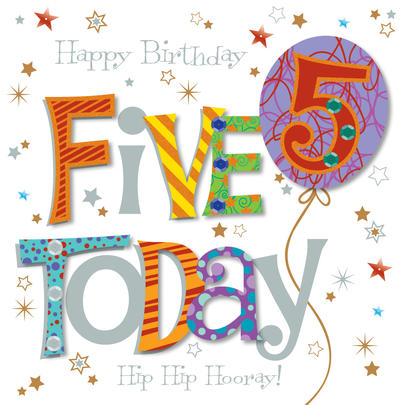 Five Today 5th Birthday Greeting Card