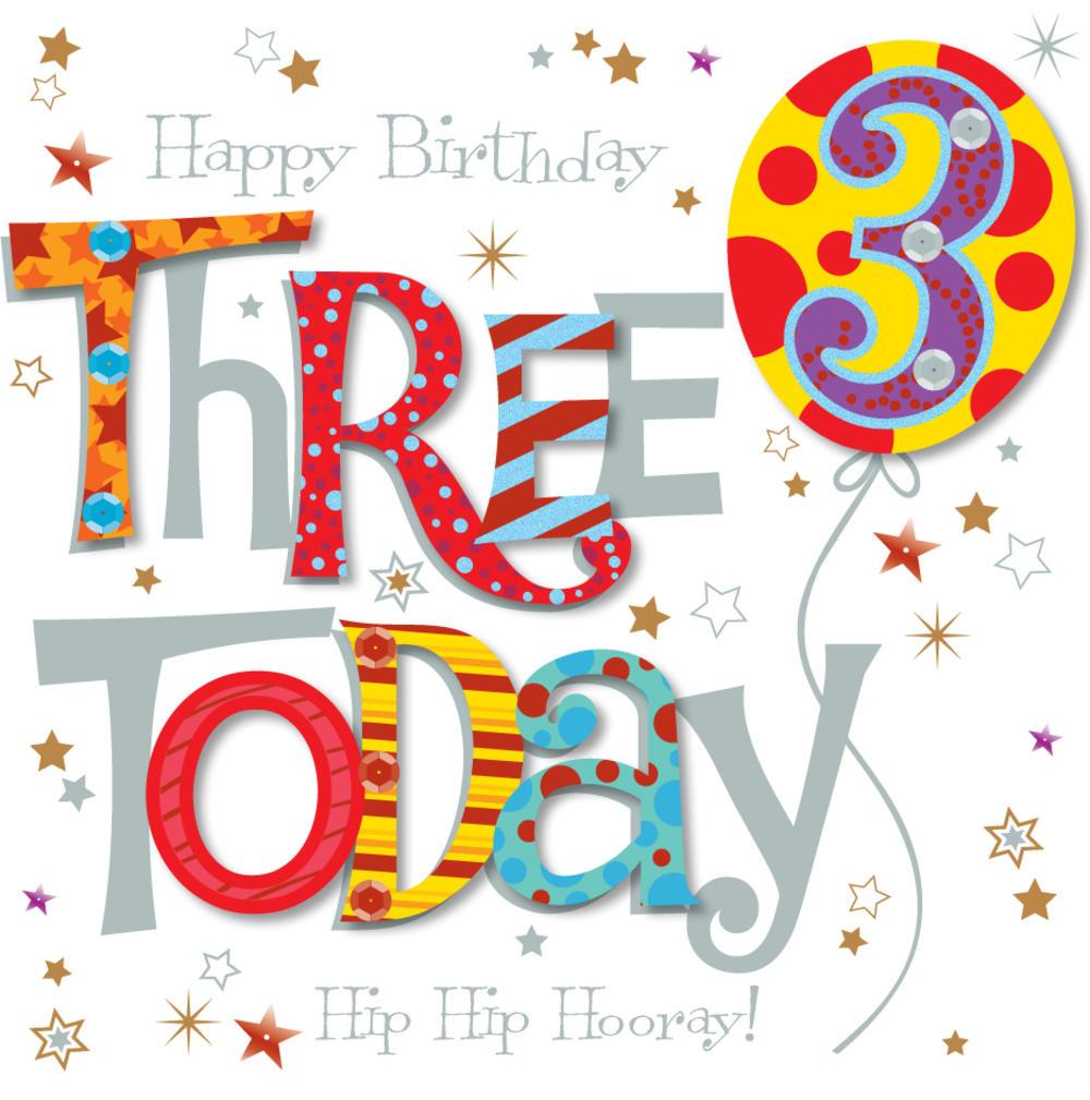 Three Today 3rd Birthday Greeting Card