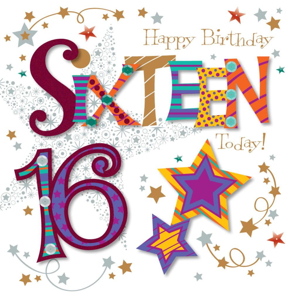 Sixteen Today 16th Birthday Greeting Card