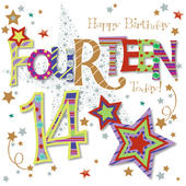 Fourteen Today 14th Birthday Greeting Card