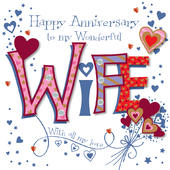 Wonderful Wife Happy Anniversary Greeting Card