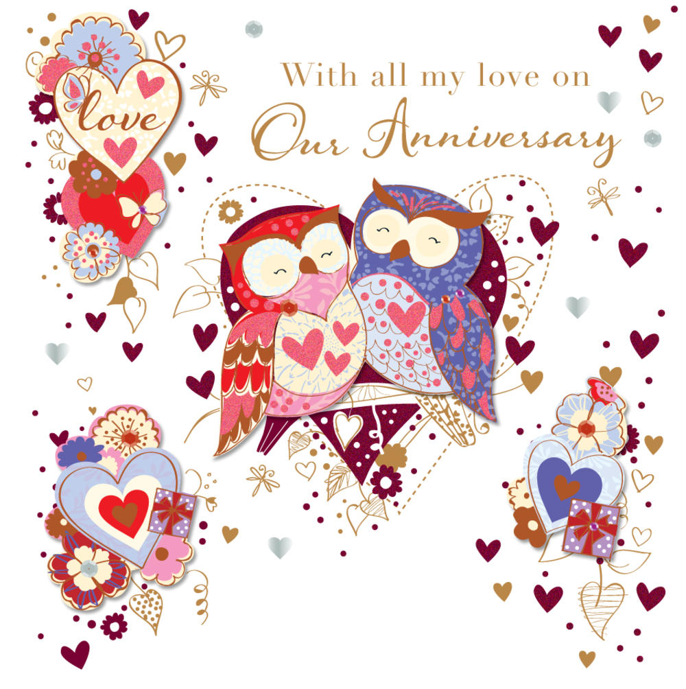 Pretty Owl On Our Anniversary Greeting Card