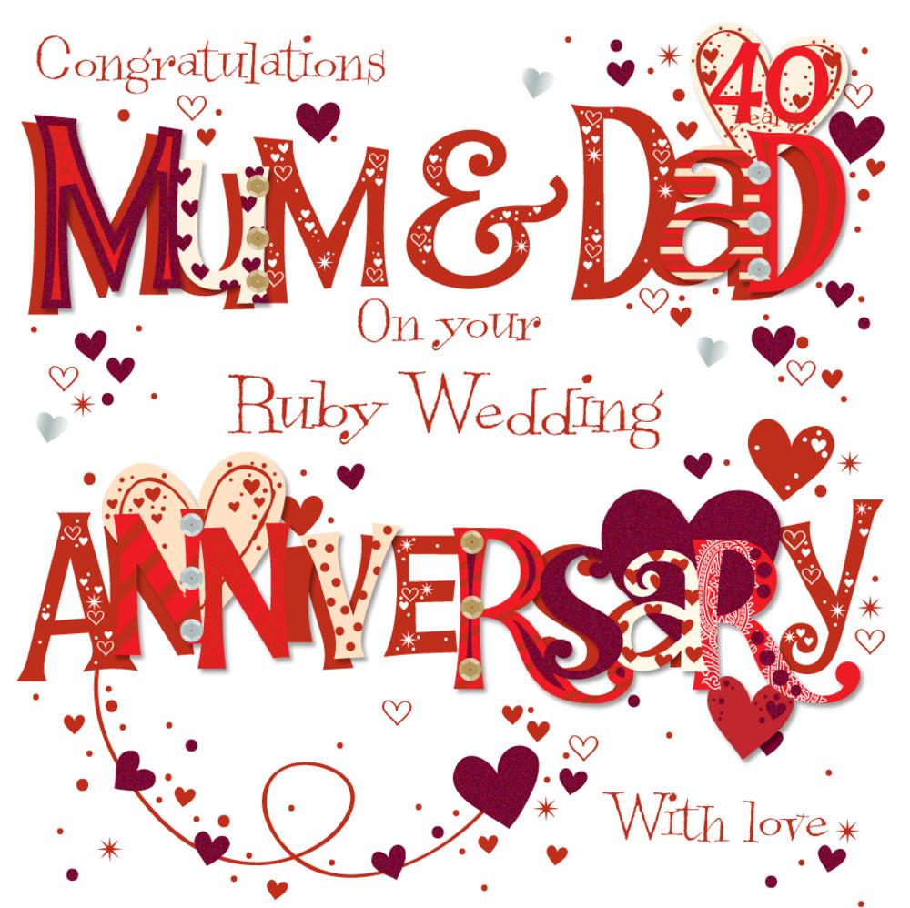 Mum Dad Ruby 40th Wedding Anniversary Greeting Card