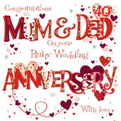Mum & Dad Ruby 40th Wedding Anniversary Greeting Card
