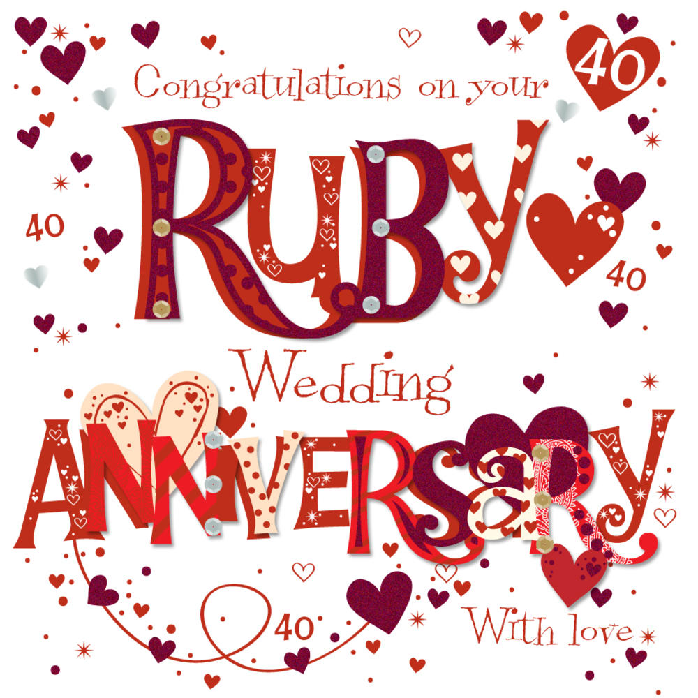 On Your Ruby 40th Anniversary Greeting Card Cards Love