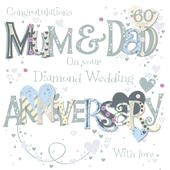 Mum & Dad Diamond 60th Wedding Anniversary Greeting Card