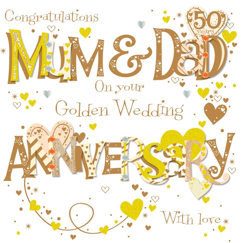 Mum dad golden 50th wedding anniversary greeting card cards mum dad golden 50th wedding anniversary greeting card m4hsunfo