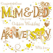 50th Wedding Anniversary Gift For Mom And Dad : Mum & Dad Golden 50th Wedding Anniversary Greeting Card