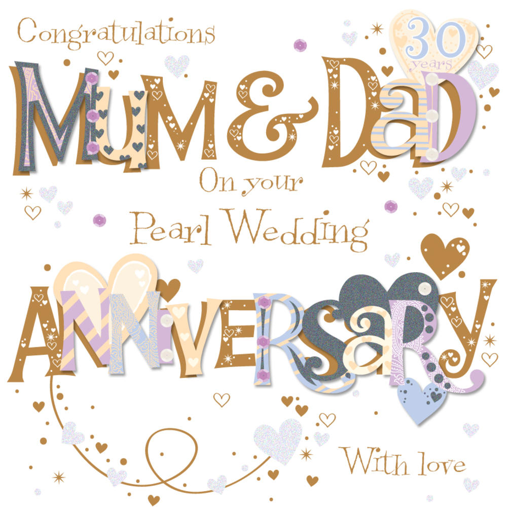 Mum Dad Pearl 30th Wedding Anniversary Greeting Card Thumbnail 1