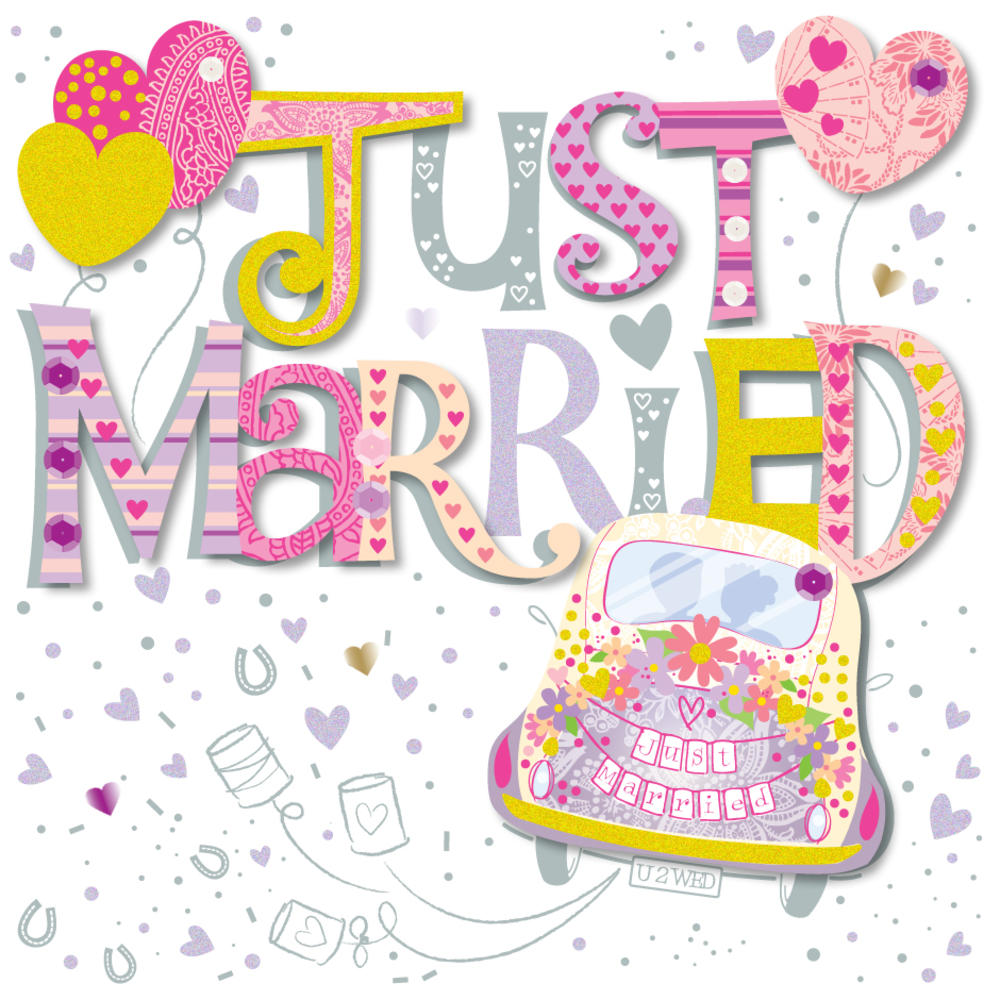 Best Time Of Day For Wedding: Just Married Wedding Day Greeting Card