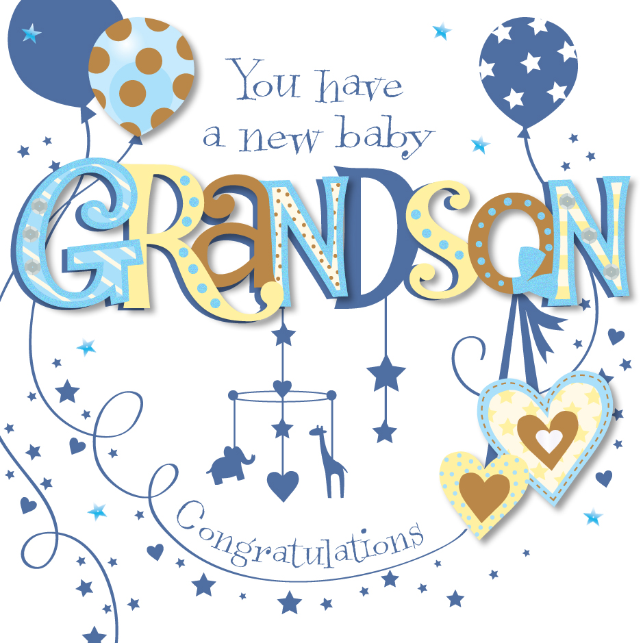 New Baby Grandson Congratulations Greeting Card Cards Love Kates