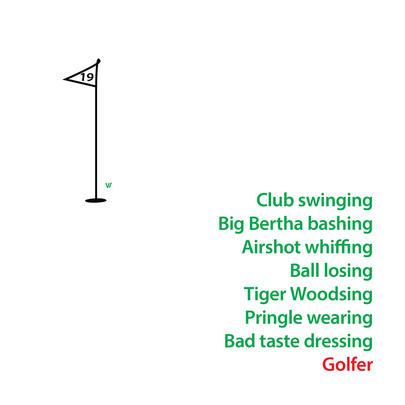 Club Swinging Golfer Greeting Card
