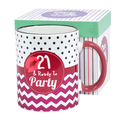 21 & Ready To Party Off The Cuff 21st Birthday Mug In Gift Box