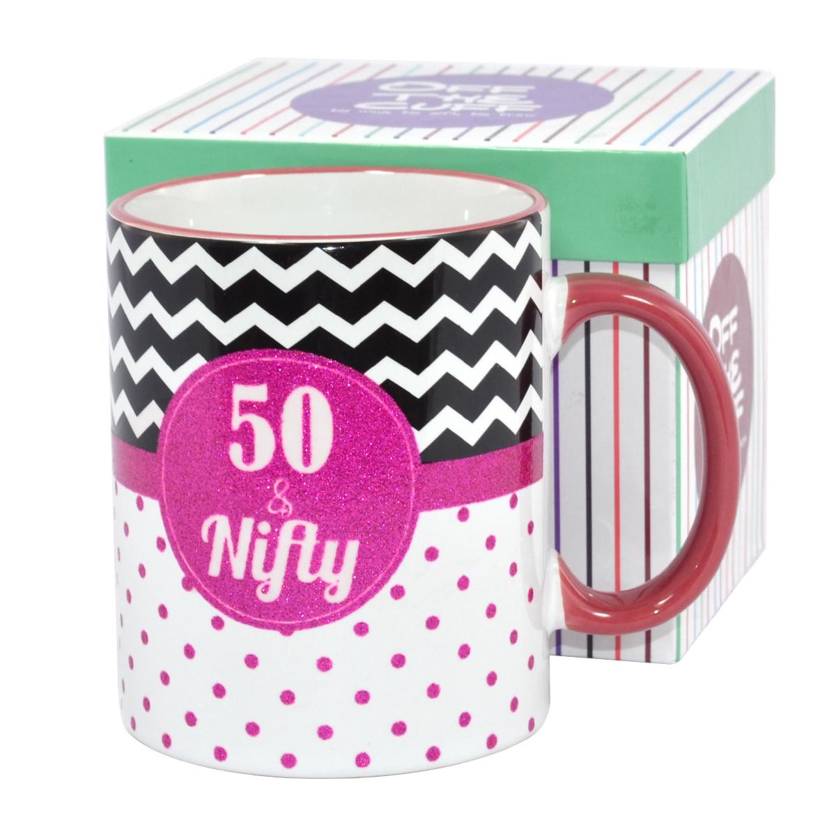 50 Nifty Off The Cuff 50th Birthday Mug In Gift Box