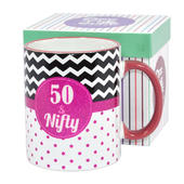 50 & Nifty Off The Cuff 50th Birthday Mug In Gift Box
