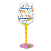 Party Time Off The Cuff Decorated Wine Glass In Gift Box