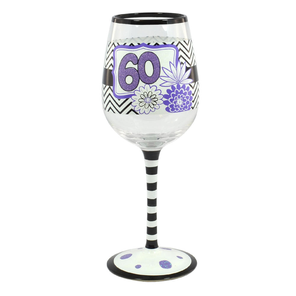 60th Birthday Off The Cuff Decorated Wine Glass In Gift Box