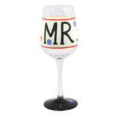 'Mr' Off The Cuff Decorated Wine Glass In Gift Box