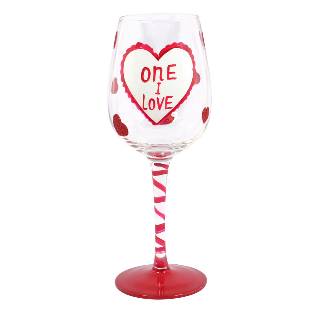 One I Love Off The Cuff Decorated Wine Glass In Gift Box
