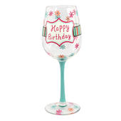 Happy Birthday Off The Cuff Decorated Wine Glass In Gift Box