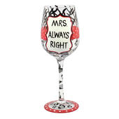 Mrs Always Right Off The Cuff Decorated Wine Glass In Gift Box