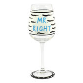 Mr Right Off The Cuff Decorated Wine Glass In Gift Box