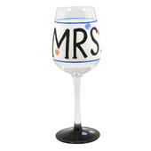 'Mrs' Off The Cuff Decorated Wine Glass In Gift Box