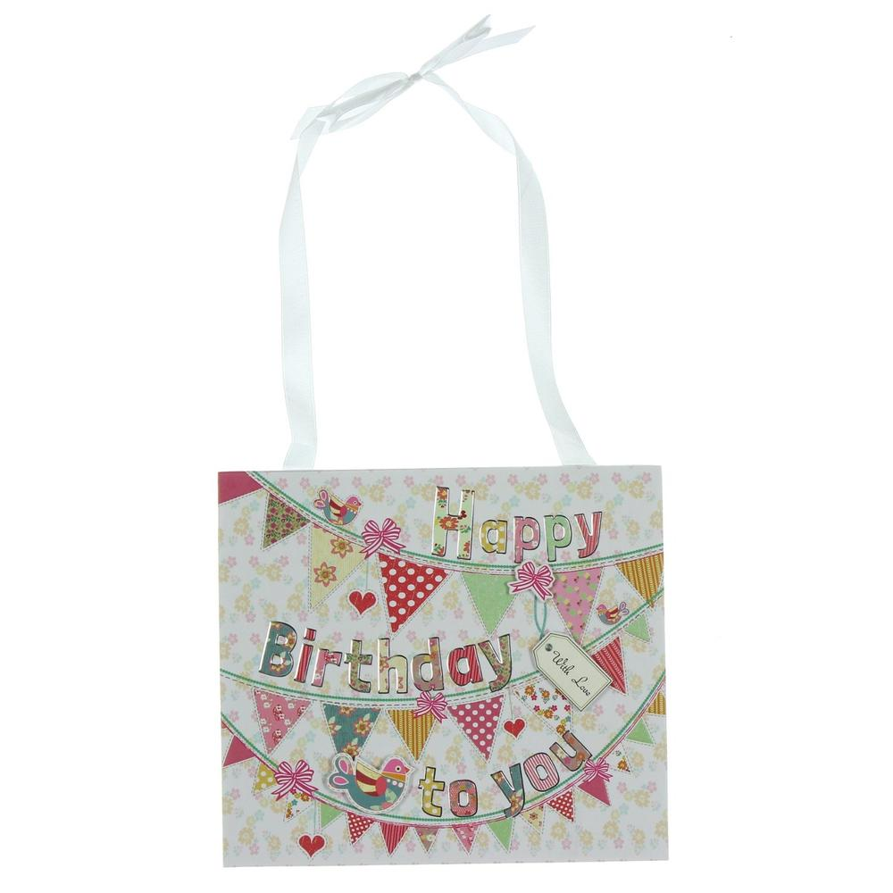 Laura Darrington Happy Birthday Hanging Plaque
