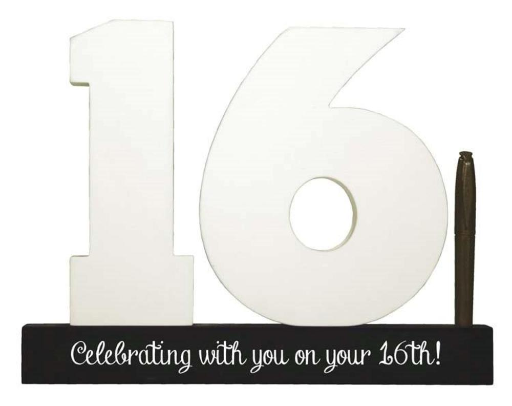 16th Birthday Signature Number Standing Wood Plaque You Sign