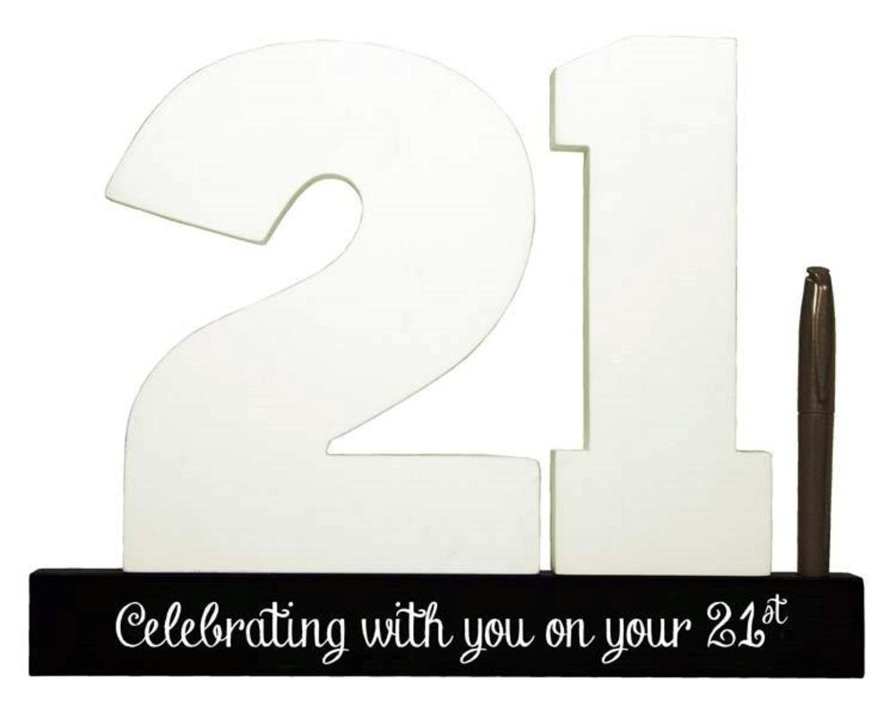 21st Birthday Signature Number Standing Wood Plaque You Sign