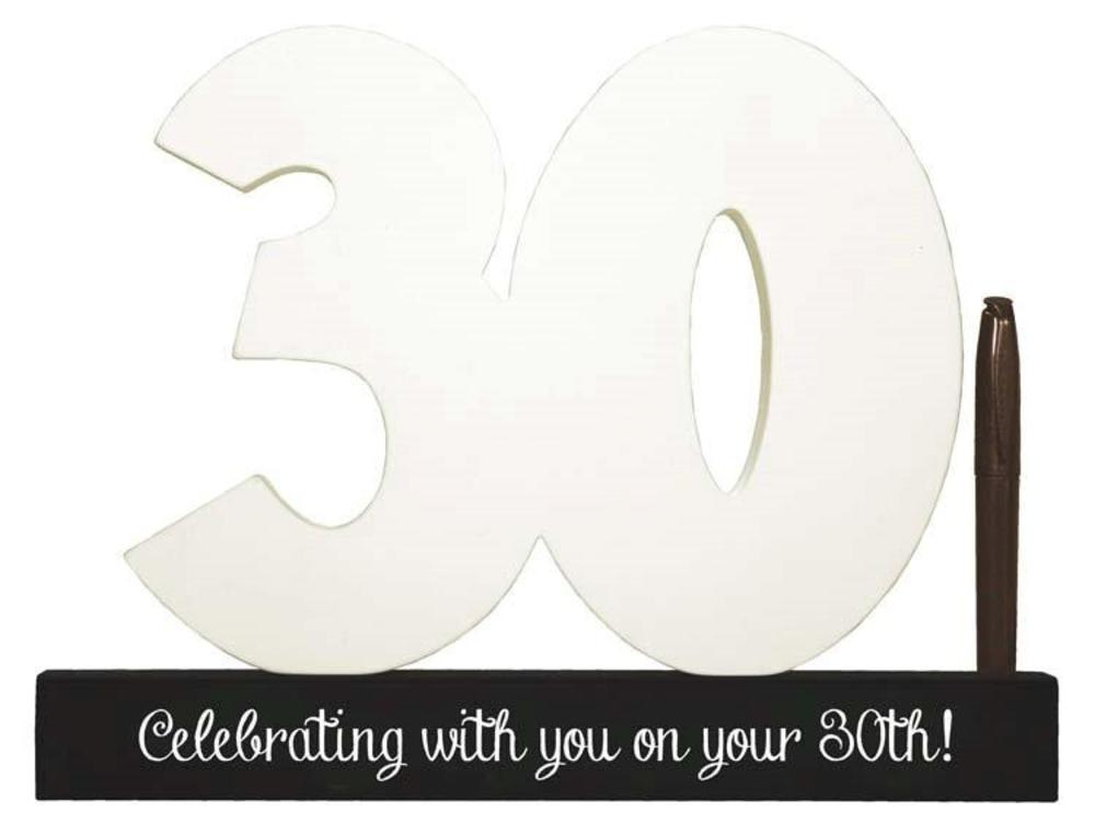 30th Birthday Signature Number Standing Wood Plaque You Sign