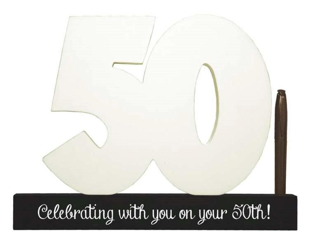 50th Birthday Signature Number Standing Wood Plaque You Sign