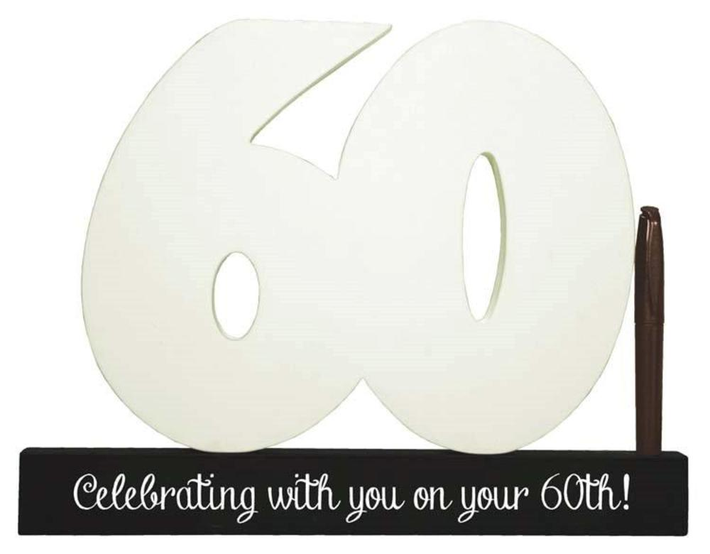 60th Birthday Signature Number Standing Wood Plaque You Sign