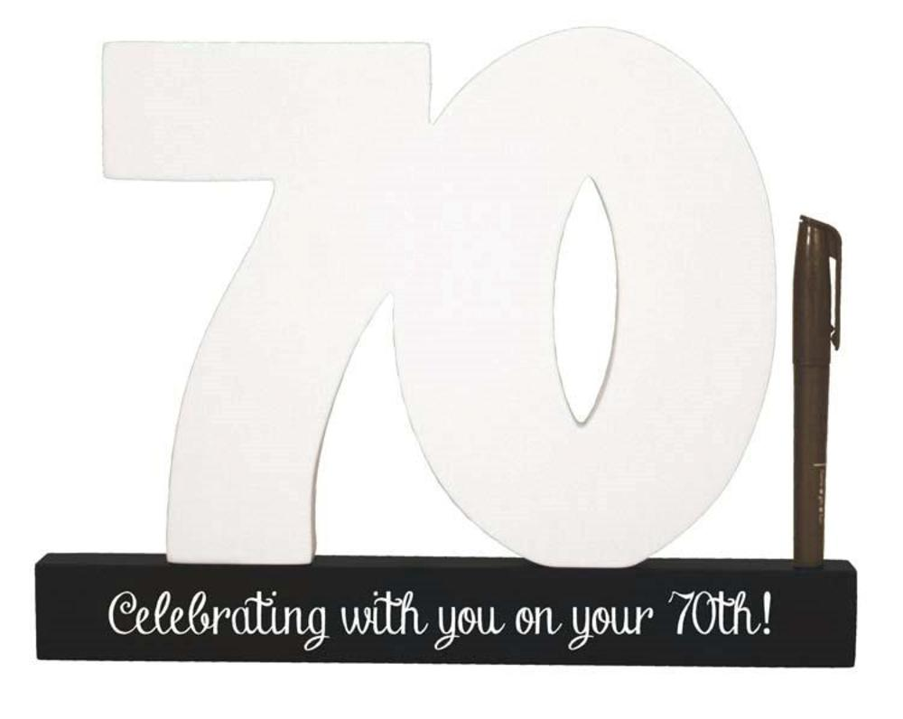 70th Birthday Signature Number Standing Wood Plaque You Sign