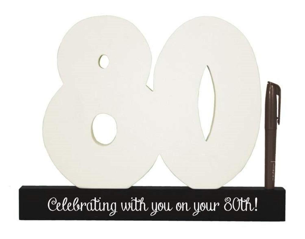 80th Birthday Signature Number Standing Wood Plaque You Sign