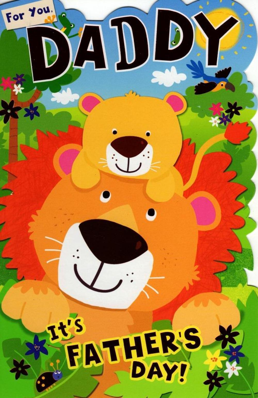 For You Daddy Happy Father's Day Card Cute Lion