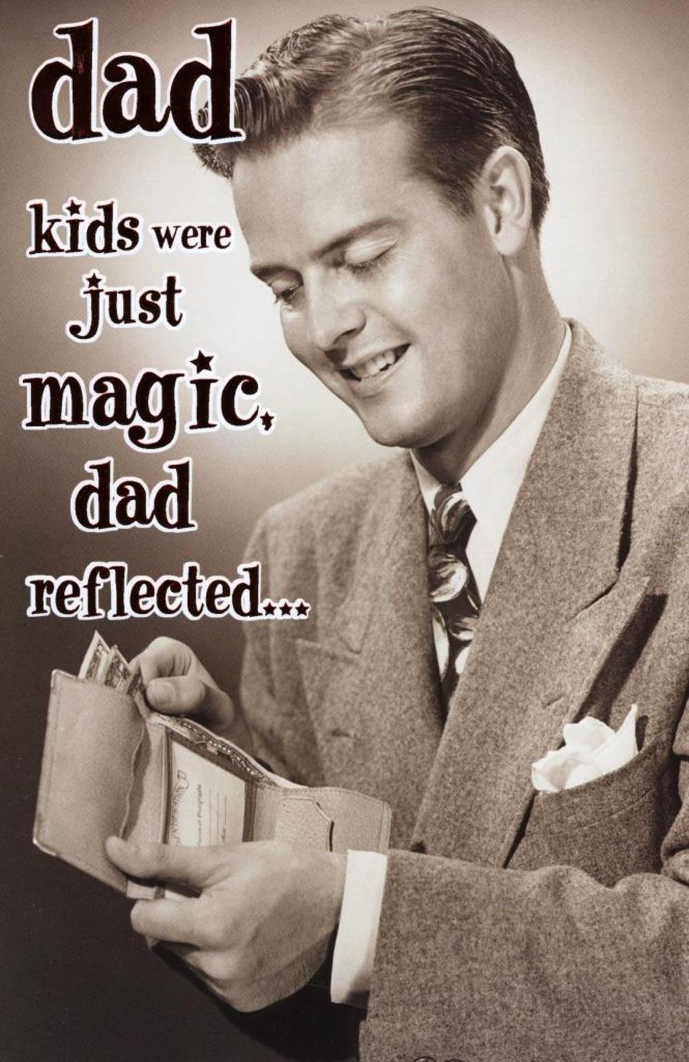 Funny Kids Make Money Disappear Retro Father's Day Card