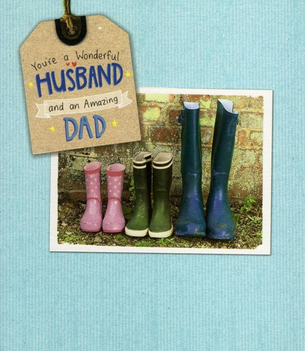 Wonderful Husband Dad Happy Fathers Day Card Cards