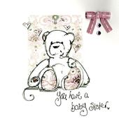 You Have A Baby Sister Embellished Greeting Card