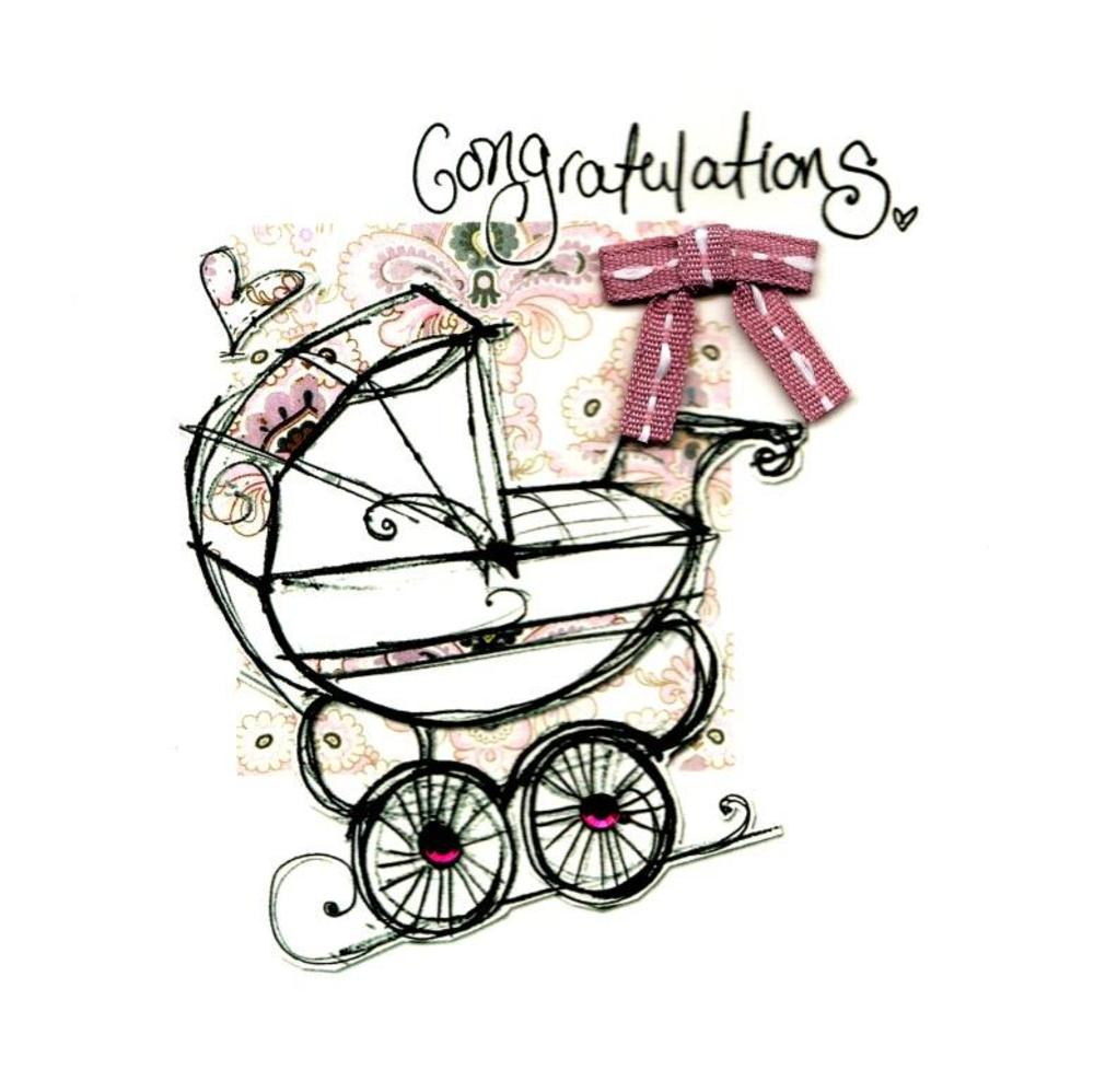 New Baby Girl Congratulations Embellished Greeting Card