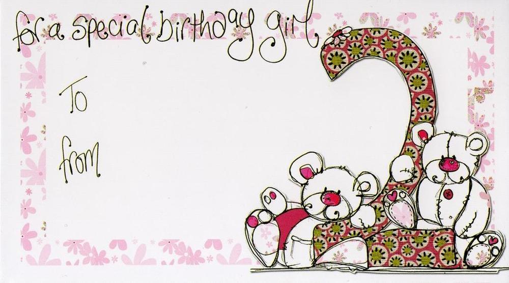 Girl's 2nd Birthday Money Envelope Gift Card