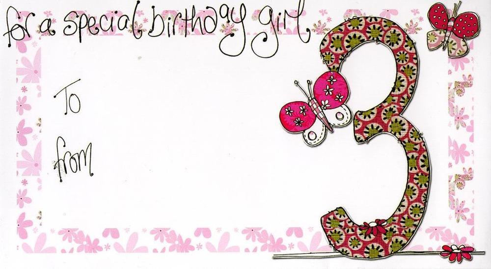 Girl's 3rd Birthday Money Envelope Gift Card