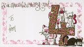 Girl's 4th Birthday Money Envelope Gift Card
