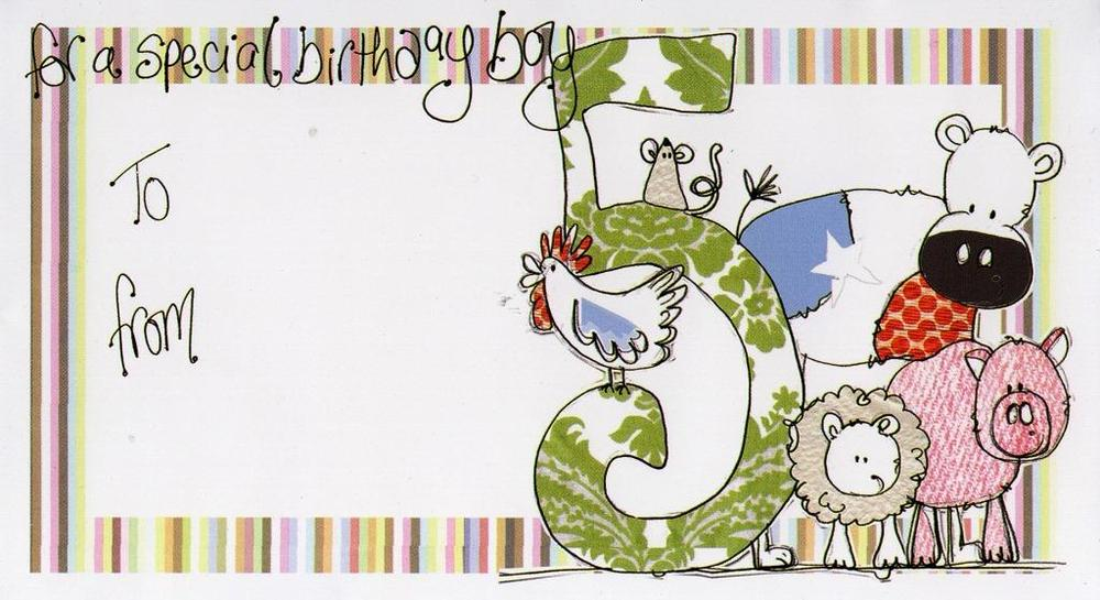 Boy's 5th Birthday Money Envelope Gift Card