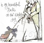 To Bride On Our Wedding Day Embellished Greeting Card